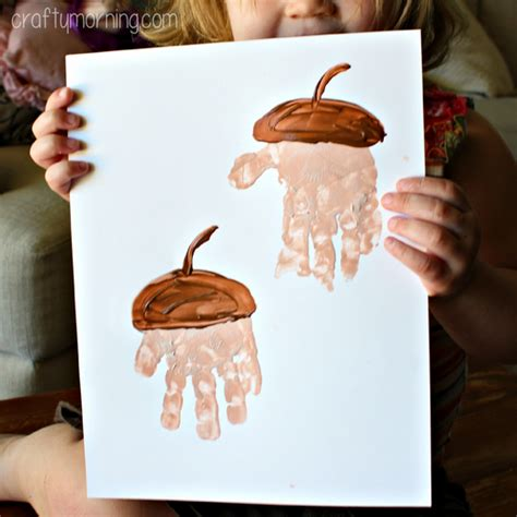 acorn craft projects handprint acorn craft for to make crafty morning