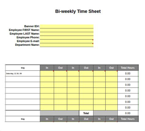 25 Excel Timesheet Templates Free Sle Exle Format Download Free Premium Templates Bi Weekly Timesheet Template Excel