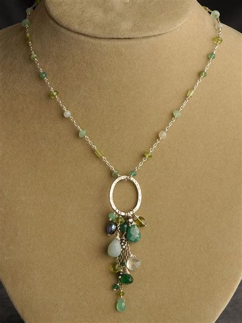 Handmade Pendant - peridot chrysoprase green onyx amazonite and pearl