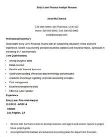 Entry Level Finance Resumes by Finance Resume Sles 21 Free Word Pdf Documents