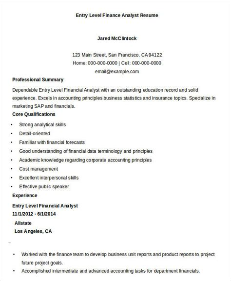 Entry Level Finance Resume by Finance Resume Sles 21 Free Word Pdf Documents