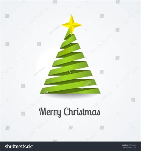 3d paper christmas tree with ribbon stylized ribbon tree yellow stock vector 113190844