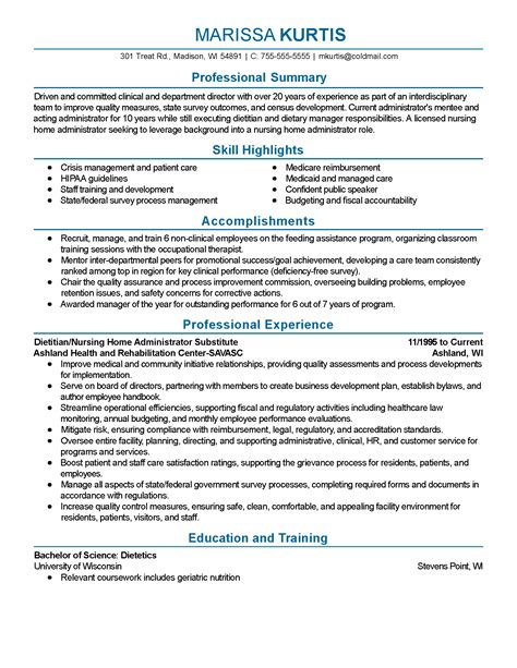 Clinical Dietitian Resume by Professional Dietitian Templates To Showcase Your Talent Myperfectresume