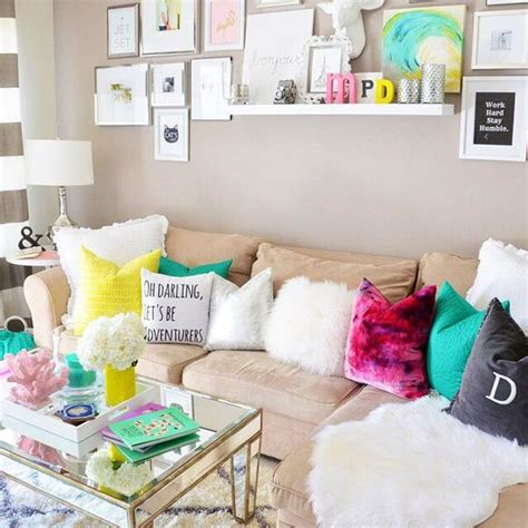 pink and teal living room beige bright color pillows pink teal yellow grey white texture cheery exciting living room