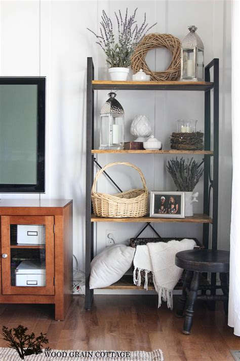 summer living room shelving the wood grain cottage