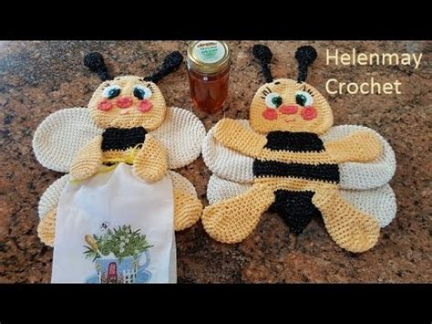 dish towel potholder tutorial youtube crochet bee potholder hot pad kitchen towel topper part 1