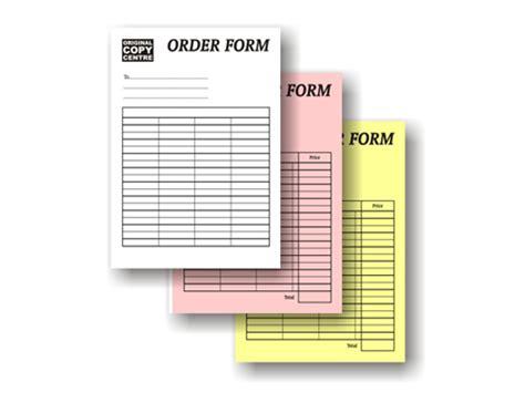 duplicate order form carbonless duplicate triplicate ncr pads custom printed
