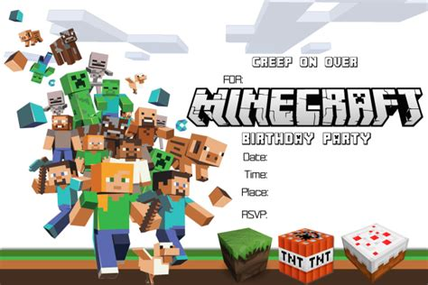 41 Printable Birthday Party Cards Invitations For Kids To Make Free Printable Minecraft Birthday Invitations Templates