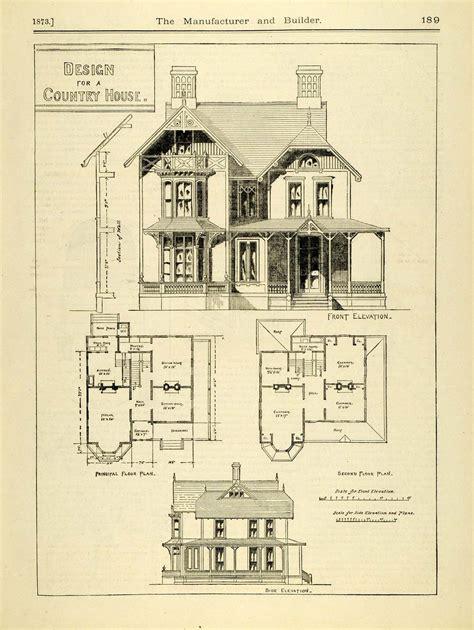 1873 print house home architectural design floor plans 1873 print victorian country house architecture blueprints