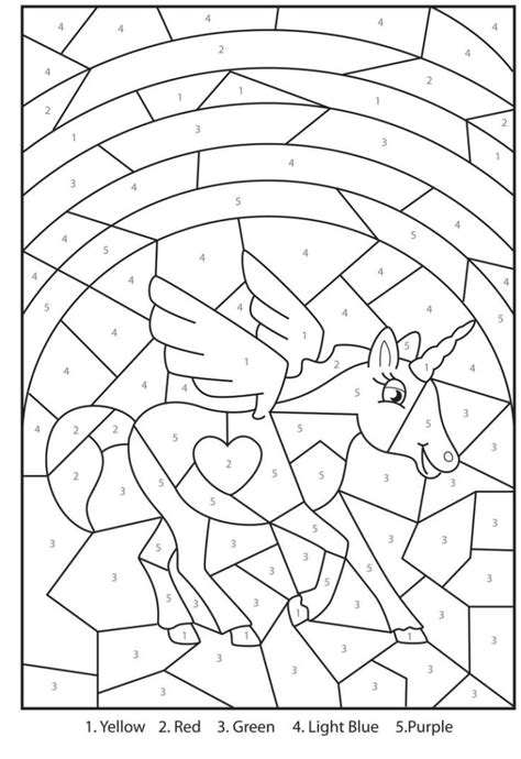 Coloring Pages Free Printable Magical Unicorn Colour By Color By Number Pages Printable