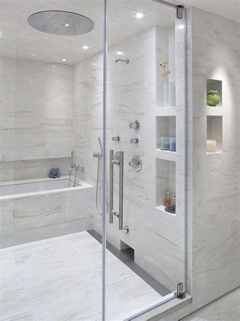 built in shower love the built ins and the tub inside the shower plus the