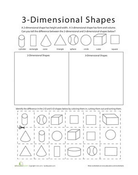 Three Dimensional Shapes Worksheets For Grade by 1000 Images About Math Va Sol 2 16 On 2d And