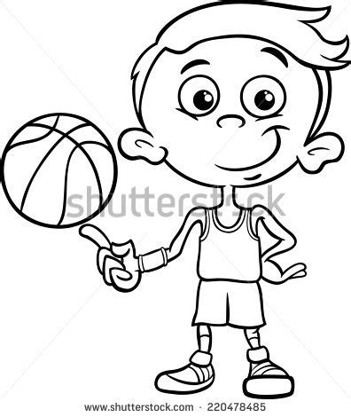 funny basketball coloring pages black and white cartoon illustration of funny boy