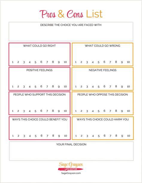 printable worksheet pros  cons list sage grayson