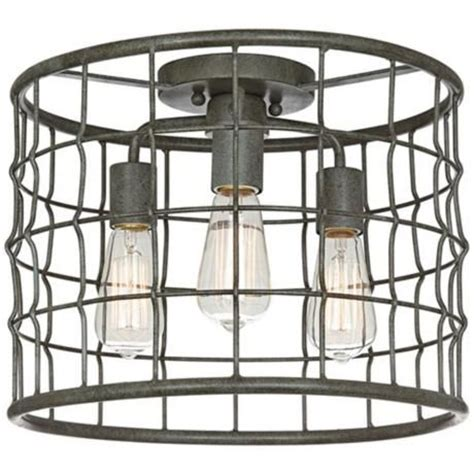 dunmore industrial cage 15 quot wide galvanized ceiling light farmhouse flush mount ceiling dunmore industrial cage 15 quot wide galvanized ceiling light