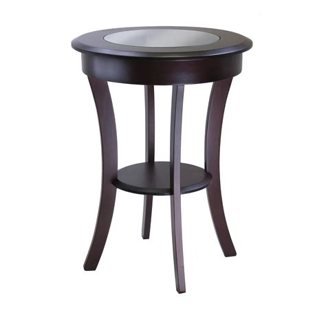 cappuccino round wood accent table with glass top ebay amazon com winsome wood cassie accent table with glass