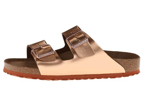 birkenstock arizona soft footbed metallic copper birkenstock arizona soft footbed copper metallic leather