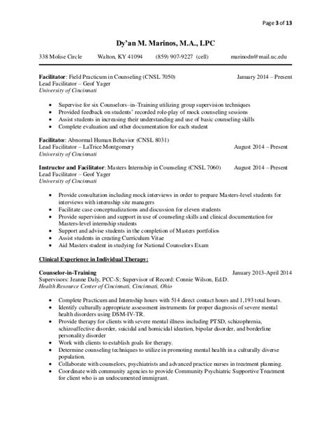licensed professional counselor resume sle cv 12 24 14