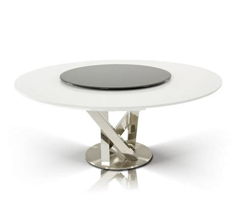 A X Spiral Modern Round White Dining Table With Lazy Susan | a x spiral modern round white dining table with lazy susan