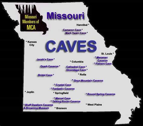 missouri caves map area attractions in missouri by the missouri mule company