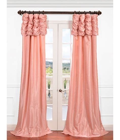pink taffeta curtains flamingo pink ruched faux solid taffeta curtain sku