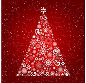 Christmas Tree Red Background  AI Format Free Vector