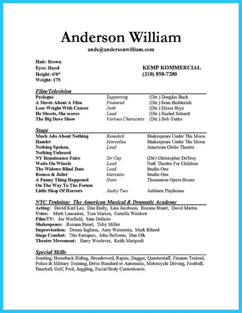 child actor resume exle impressive actor resume sle to make check more at