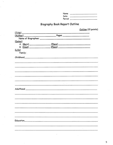 Free Printable Biography Book Report Form by Best Photos Of Biography Book Report Templates Elementary