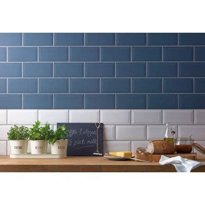 blue kitchen tiles ideas metro white wall tiles 200 x 100mm 25 pack pictures