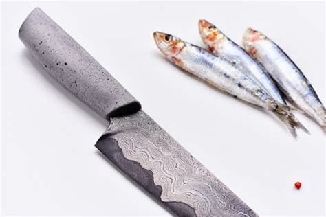 DAMASCUS KNIFE with a concrete handle   product design
