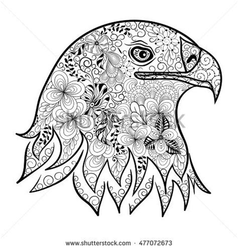 retro lives greyscale coloring book books eagle bird ethnic floral doodle pattern stock vector