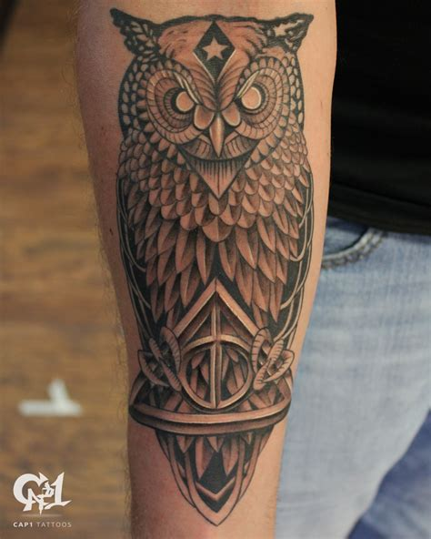 denton tattoo shops deathly hollows owl by capone tattoonow