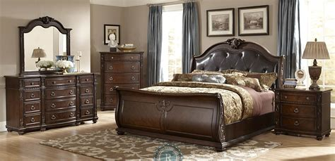 valencia traditional genuine leather upholstered sleigh hillcrest manor genuine leather sleigh bedroom set from