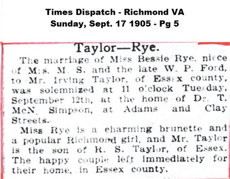 Richmond County Marriage Records Burley Family Marriage Records