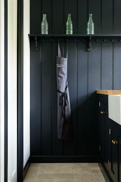 pantry blue tongue  groove panelling