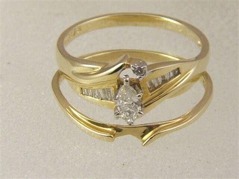 14K MARQUISE DIAMOND ENGAGEMENT RING SET  14 KARAT GOLD