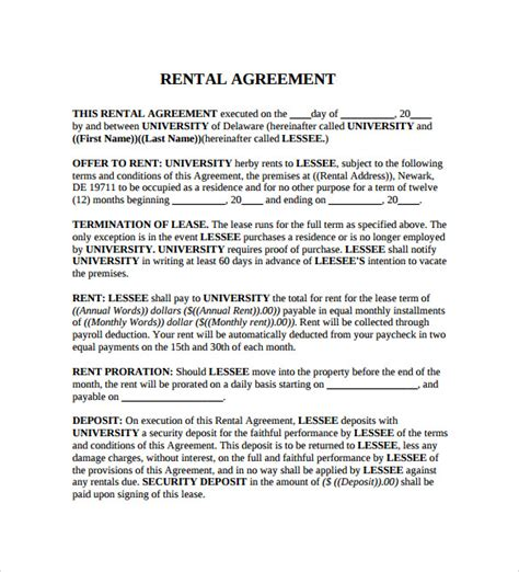 renters agreement rental agreement contract template