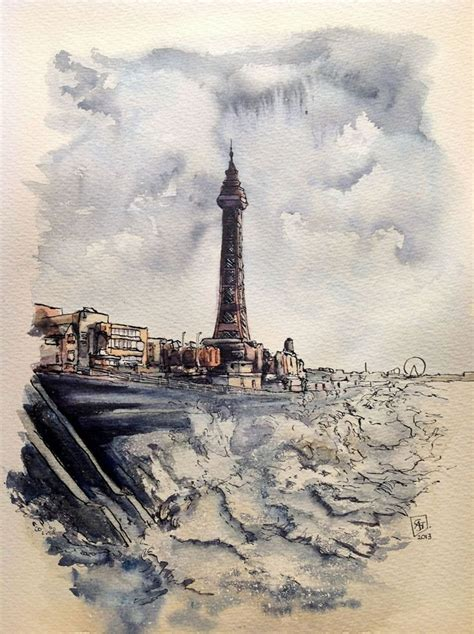 watercolor tattoos lancashire blackpool tower sea front and watercolour