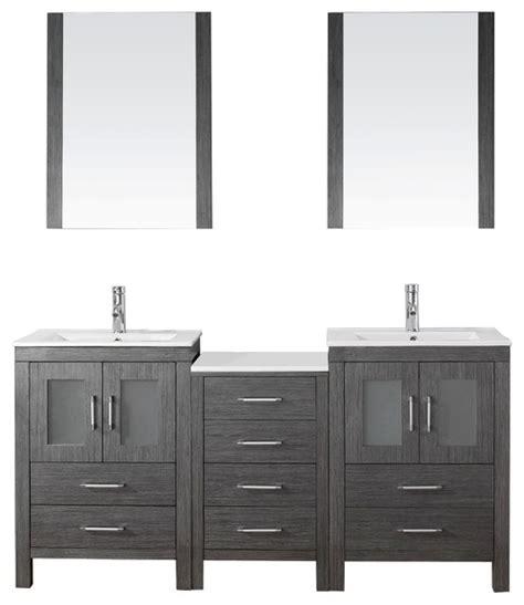 Bathroom Vanity Hardware Polished Nickel 66 Quot Bathroom Vanity Cabinet Set In Zebra Grey