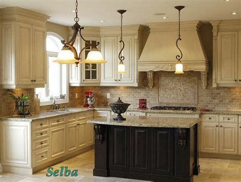 antique white cabinets light granite antique black