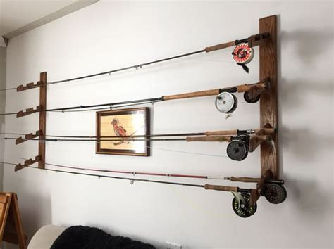 wood fly rod rack display holder wall our house