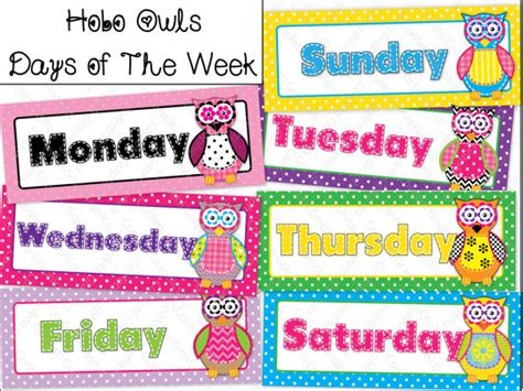 Of The Day Calendar Days Of The Week Calendar Cards Owl Polka Dot Hobo Stitched