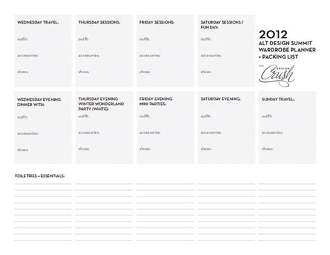 wardrobe checklist template 2012 alt summit wardrobe planner packing list design crush