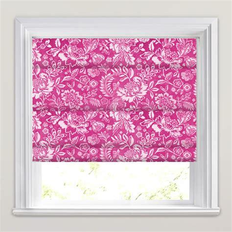pink patterned roman blind vibrant velvet magenta pink stone floral patterned roman