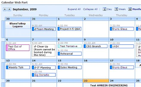 sharepoint exchange calendar web part