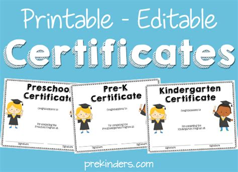 pre k award certificate templates end of year activities certificates prekinders