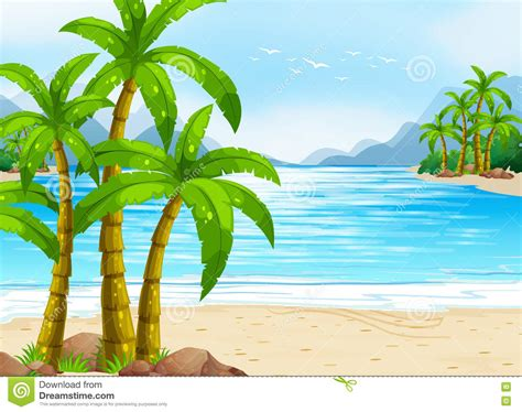 summer themes summer theme with beach and ocean stock vector image