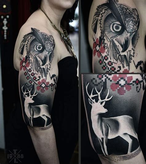 owl amp deer sleeve best tattoo design ideas
