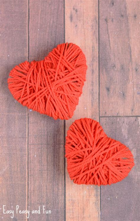 crafts with yarn for yarn wrapped hearts craft valentines day crafts easy