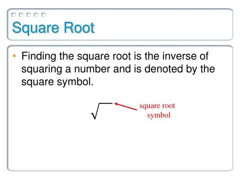 square root of 289 ppt square roots and irrational numbers powerpoint